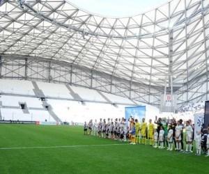 Entree des joueurs / huis clos partiel / Tribune vide  - 27.09.2015 - Marseille / Angers  - 8eme journee de Ligue 1 Photo : Gaston Petrelli / Icon Sport