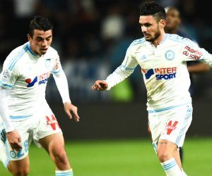 Remy Cabella / Antoine Rabillard - 02.02.2016 - Montpellier / Marseille - 24e journee de Ligue 1 Photo : Alexandre Dimou / Icon Sport