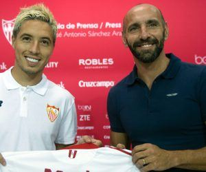 Presentation of Samir Nasri as Sevilla new player. In this picture, with Ramon Monchi. 01/09/2016 Photo : Kiko Hurtado / Marca / Icon Sport