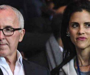 Marseille owner Frank McCourt, Monica McCourt, wife of Marseille owner Frank McCourt, Marseille president Jacques Henri Eyraud during the Ligue 1 match between Paris Saint Germain and Marseille at Parc des Princes on October 23, 2016 in Paris, France. (Photo by Anthony Dibon/Icon Sport)