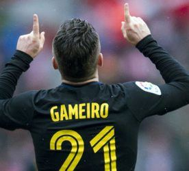 Kevin Gameiro celebrates his goal during the Liga match between Sporting Gijon and Atletico Madrid on 18th February 2017 Photo : Arce / Marca / Icon Sport