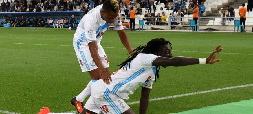 Clinton NJIE and Bafetimbi GOMIS during the Ligue 1 match between Olympique de Marseille and FC Nantes at Stade Velodrome on September 25, 2016 in Marseille, France. (Photo by Mathieu Valro/Icon Sport )