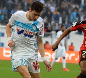 Florian THAUVIN of Marseille and Ludovic BAAL of Rennes during the French Ligue 1 match between Marseille and Rennes at Stade Velodrome on February 18, 2017 in Marseille, France. (Photo by Mathieu Valro/Icon Sport)