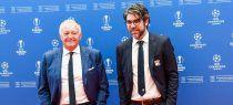 Jean-Michel Aulas, presidente del Lyon, con Juninho