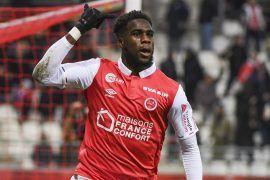 Boulaye Dia célèbre son but avec Reims