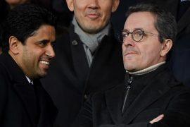 Nasser Al Khelaifi president of PSG, Marseille president Jacques Henri Eyraud
